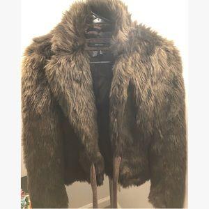 Like New Stylish ZARA Faux Fur Suede Tie Jacket